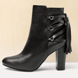 Halogen Leather Sadee Lace-Up Almond Toe Bootie